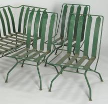 Lot 589 French Art Deco Patio Furniture Settee & 3 Chairs