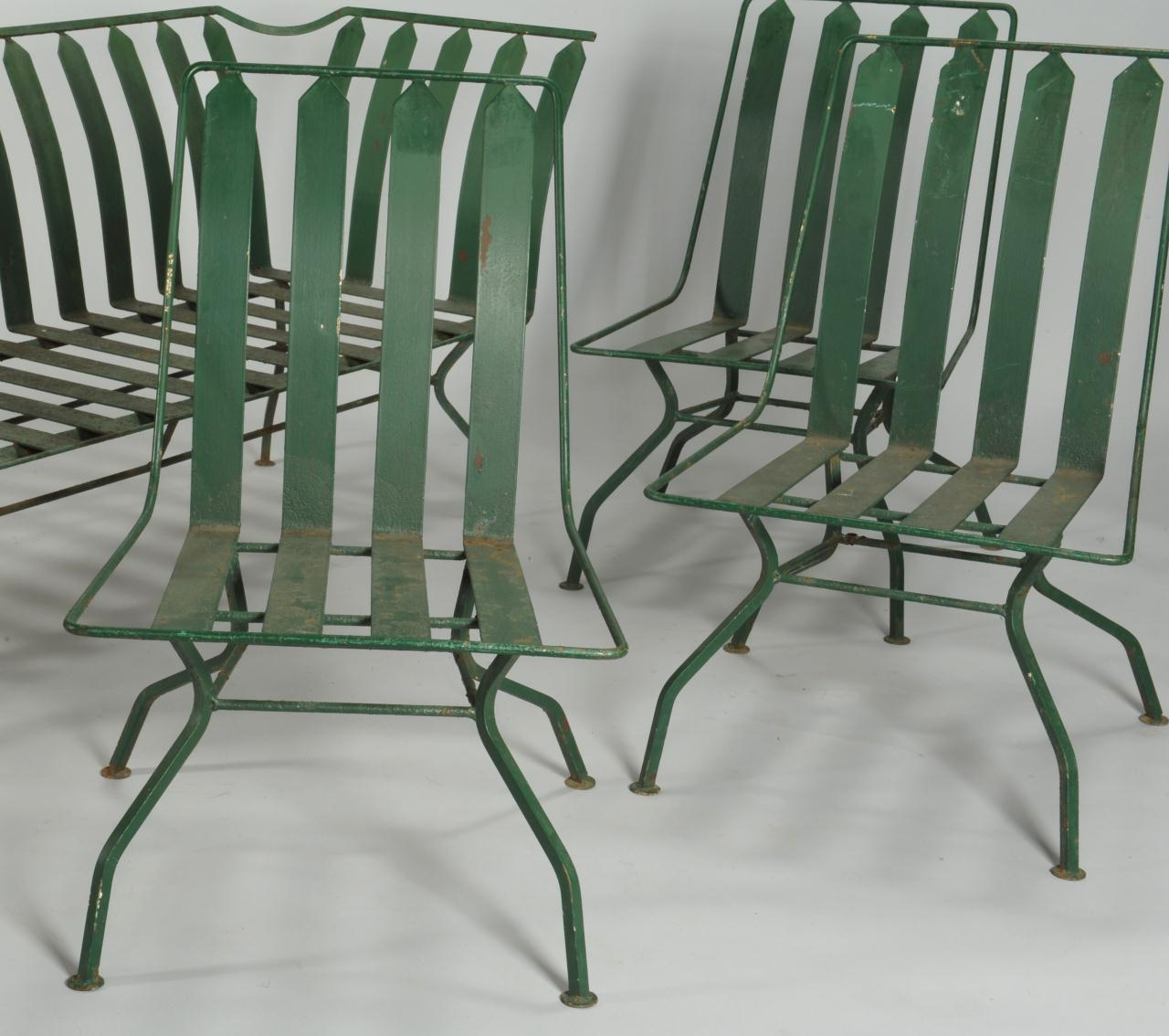green french bistro chairs rocking chair gliders lot 589 art deco patio furniture settee and 3