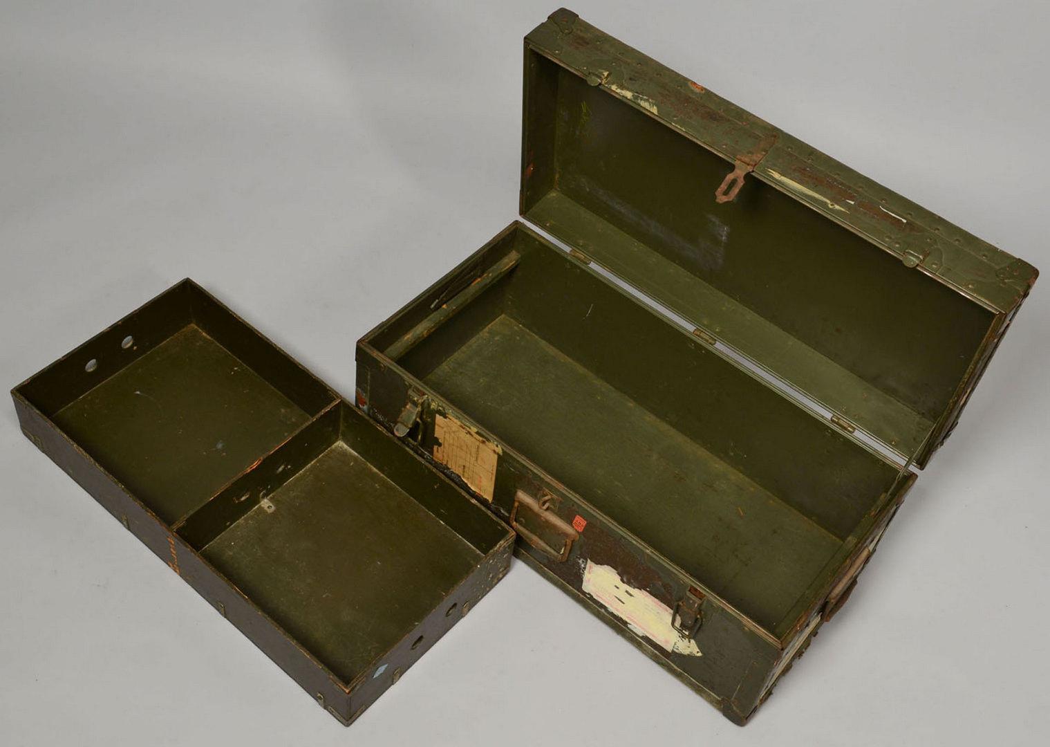 Lot 531 Military Items Field Desk Foot Locker Shells