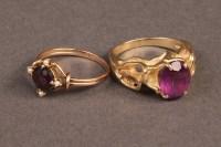 Lot 386: Lot of 2 Ladies Gold Rings, Purple Stones