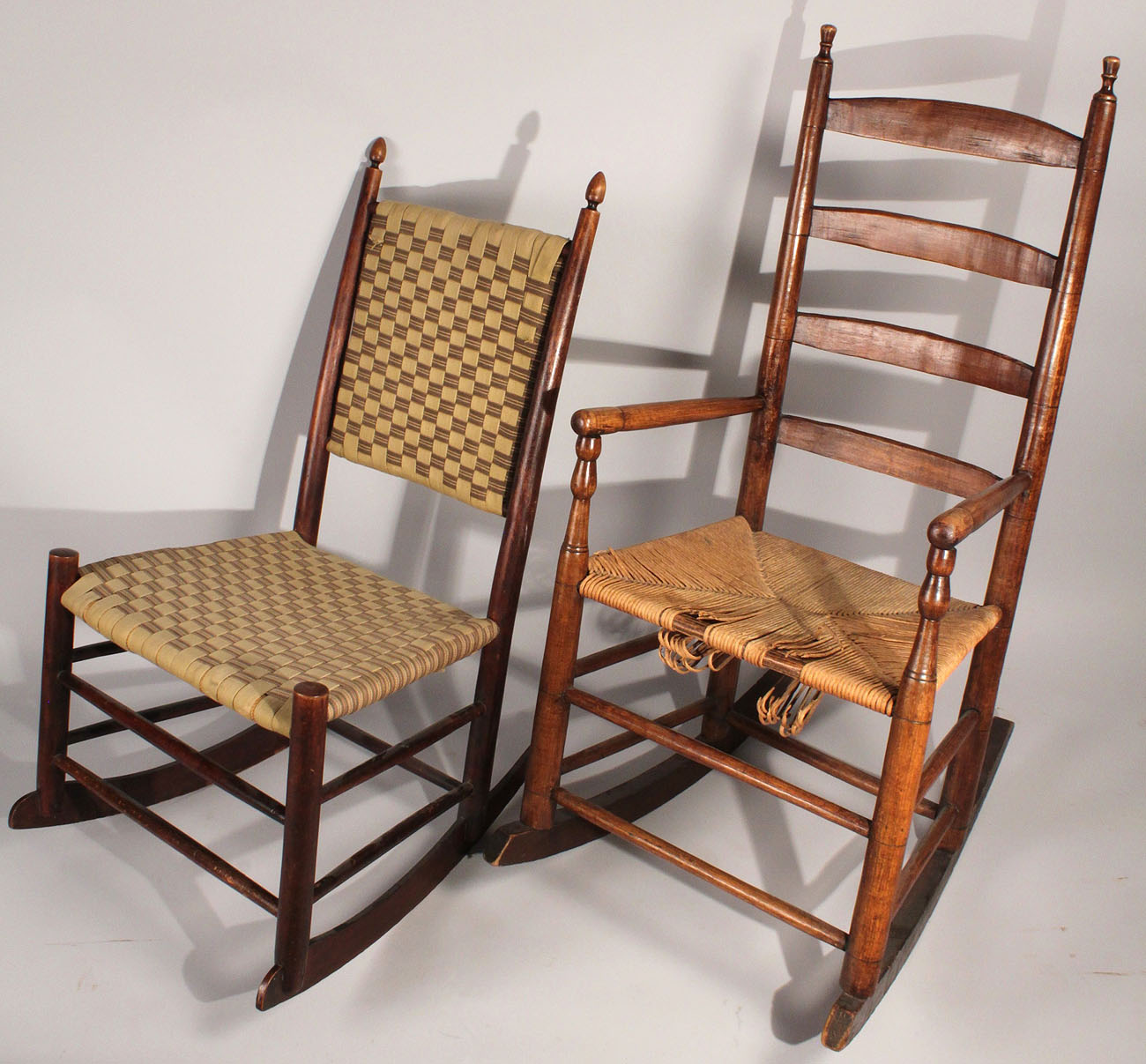 2 rocking chairs instrumental albee baby high chair lot 449 shaker and tennessee