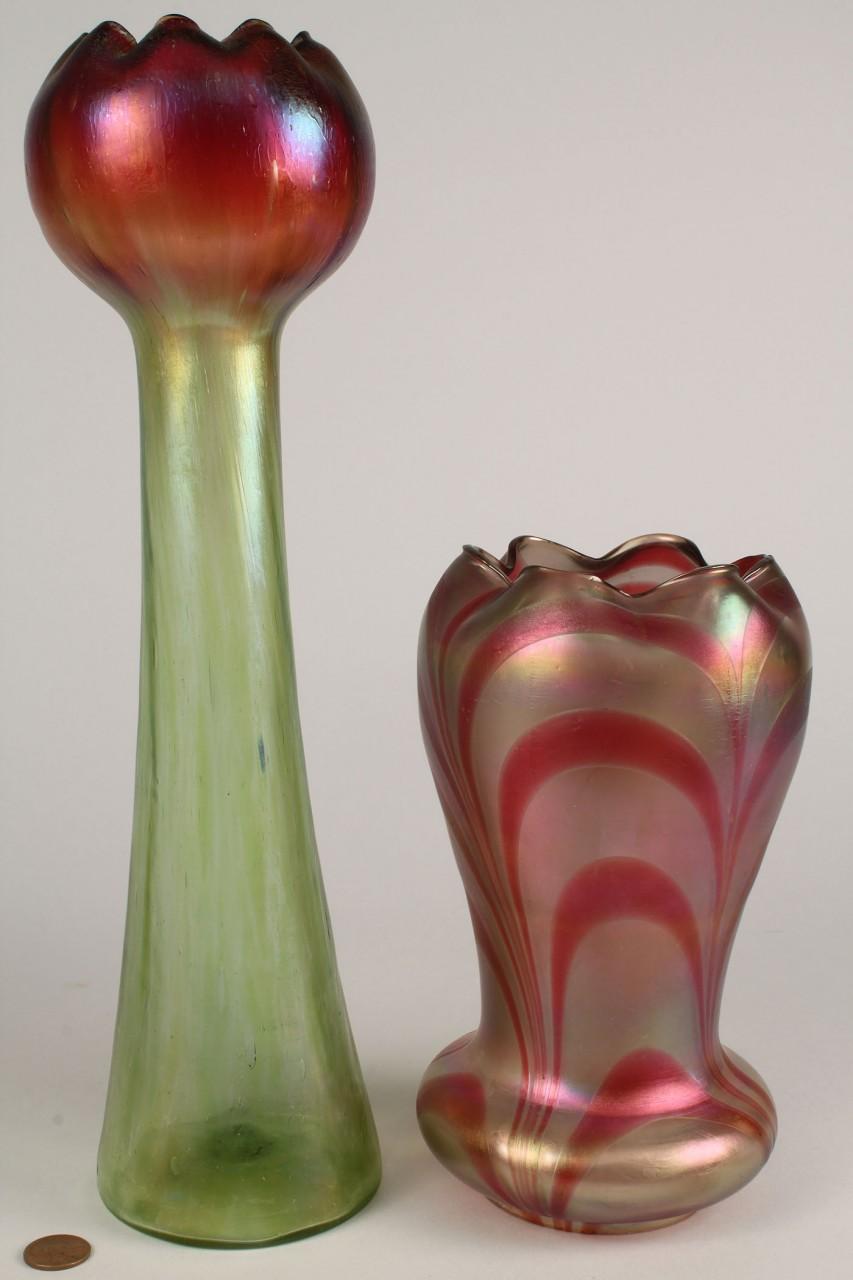 Lot 327 3 Art Glass Items Vase Bowl  Lamp Shade