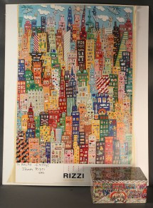 Lot 542 James Rizzi Poster & Metal Box Signed