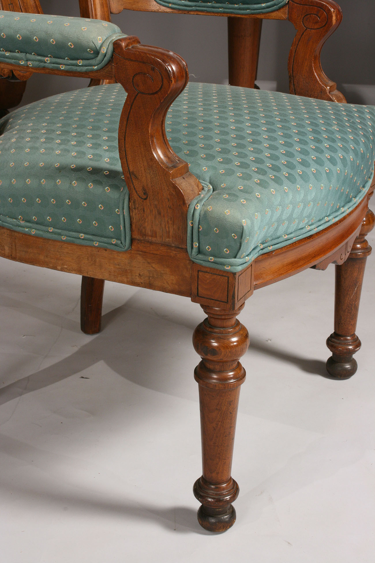 dining chairs on casters costco swivel chair lot 140: walnut renaissance revival table & 14