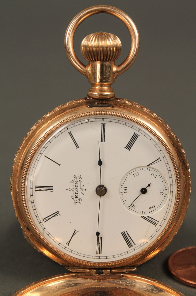 lot 177 14k elgin pocket watch with star pattern