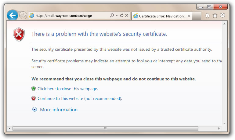 Certificate Error-Navigation Blocked