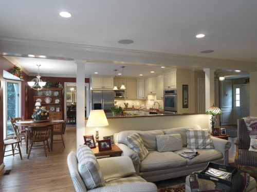 living room open plan designs modern design pics the pros and cons of floor plans case remodeling remodel a smaller home s main level created great by removing most wall that separated kitchen