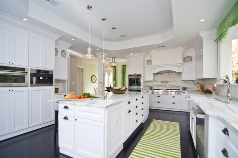 big bright kitchen good flow center island tray ceiling pendant lights