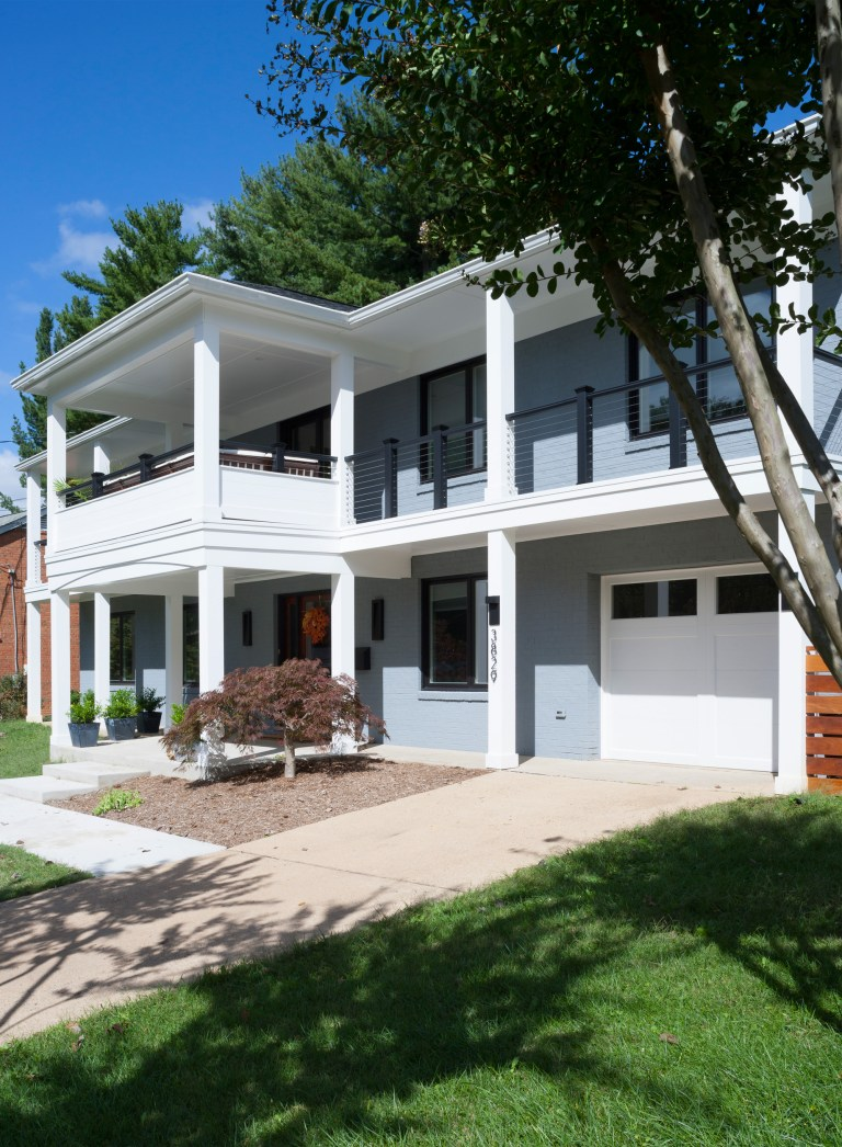 addition exterior two level porch columns light blue white curb appeal