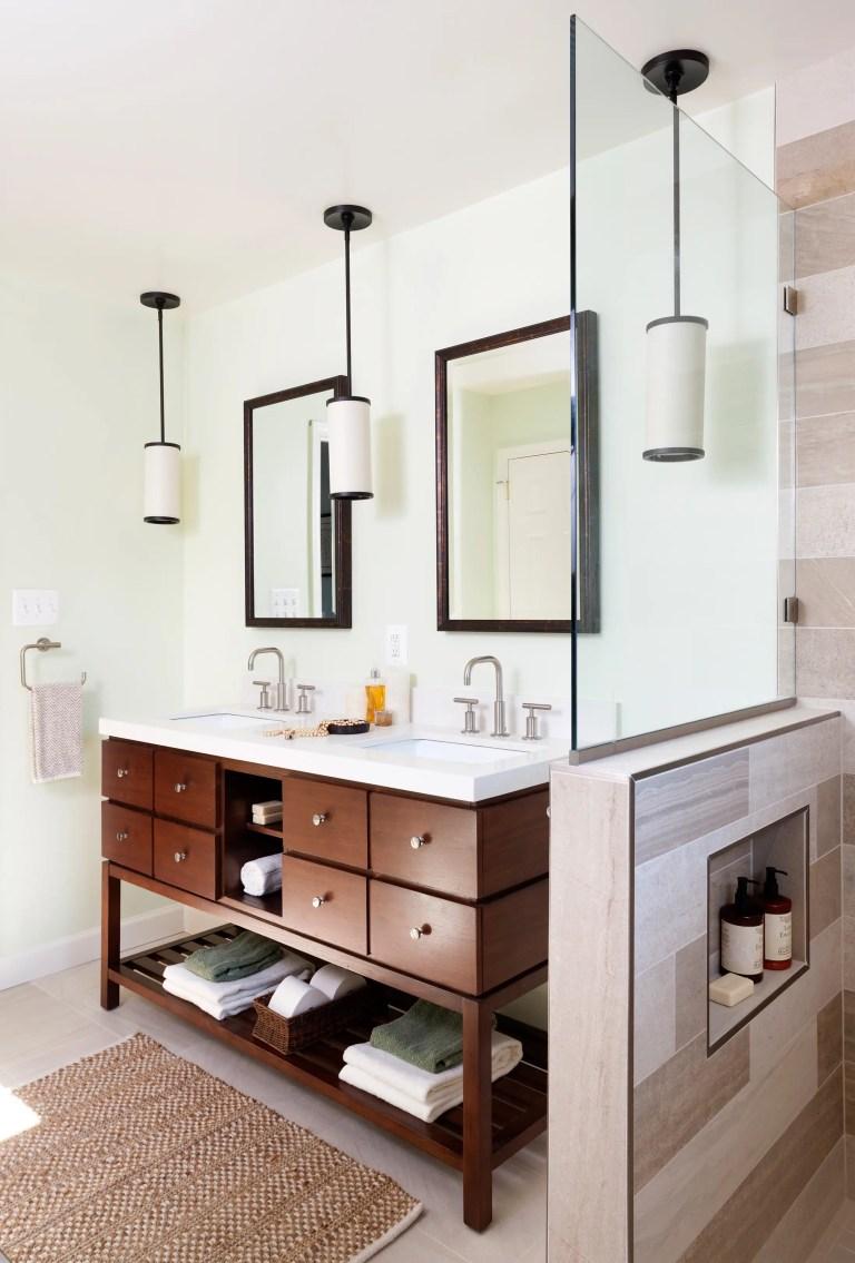 modern style bathroom double wood vanity pendant lights natural color palette