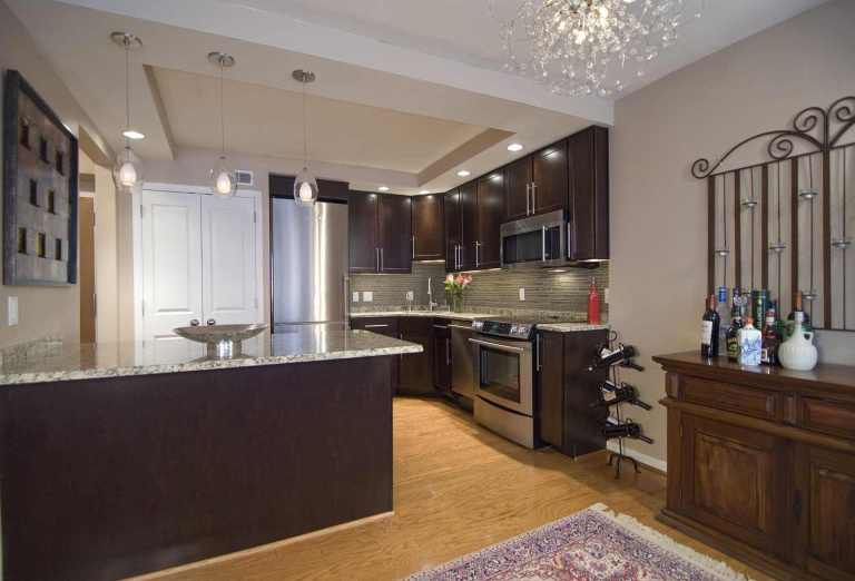 open concept kitchen modern design dark wood cabinetry stainless steel appliances tray ceiling with recessed lighting