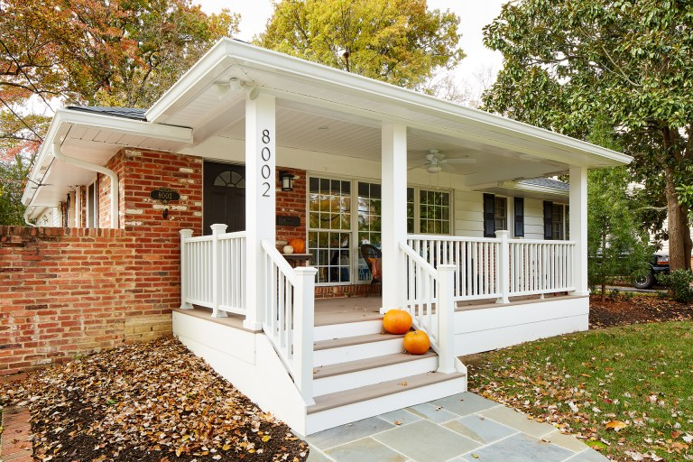 traditional one story virginia home covered front porch addition