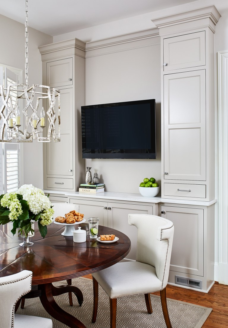 white dining room storage built in cabinets with mount tv