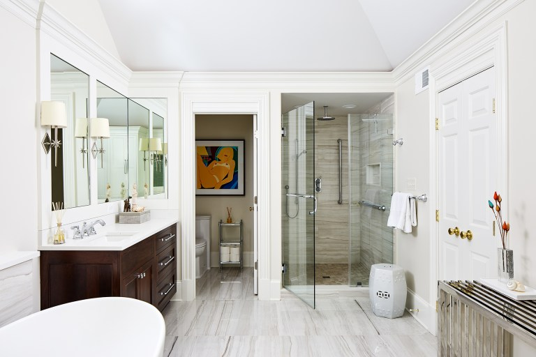 master bathroom remodel in Virginia with separate shower and toilet
