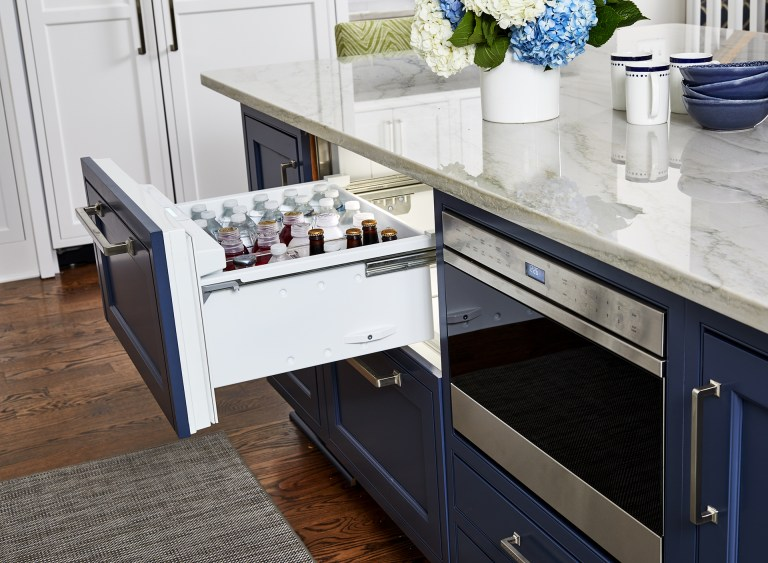 Kitchen island storage with set of refrigerator drawer and stainless-steel microwave drawer oven