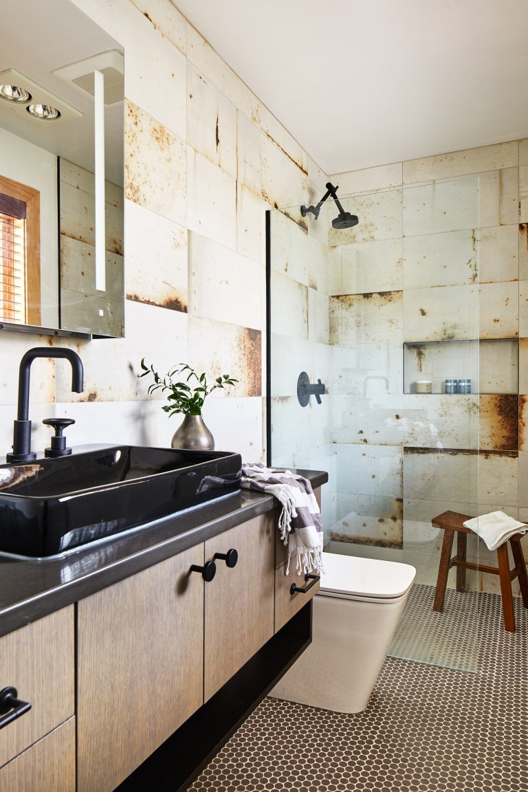 industrial style bathroom with neutral color palette