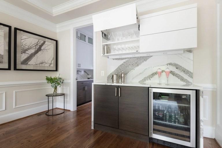 white vertical opening cabinets bi-fold doors silent closing for folding doors, mini fridge