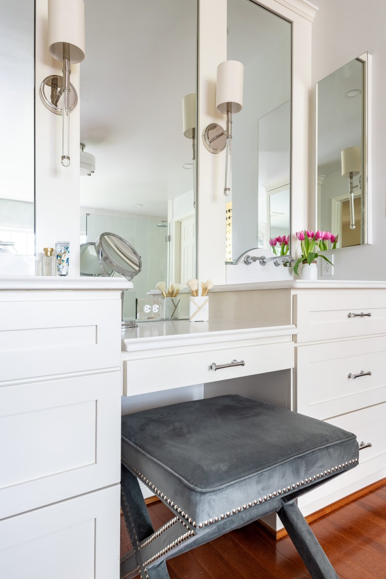 makeup vanity with grey stylish seating