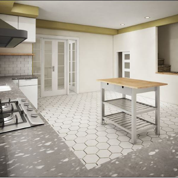 Rendering for kitchen and new hexagone flooring