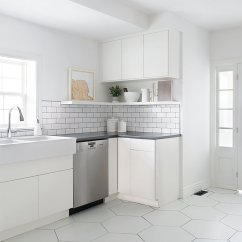 White Kitchen Floor Marble West End Halifax Amazing Contemporary Transformation Open Shelves Hexagon Tile
