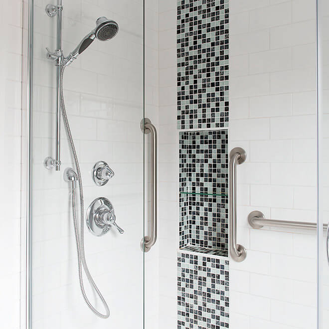 walk in shower mosaic accent shelf with accessibility bars