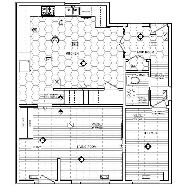 plan drawing for whole main floor and new hexagone flooring