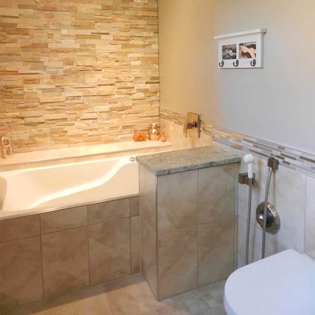 custom master bathroom ensuite remodel walkin closet, double vanity, walkin shower, stone wall Halifax Case Design Remodeling