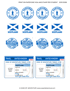 image about Printable Passport Stamps for Kids identified as Desired destination Scotland Video game Pack -
