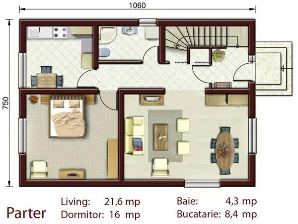 Proiecte de case pentru o familie cu patru membri for Proiecte case parter