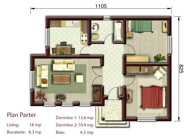 Proiecte de case la tara 3 locuinte mici si frumoase in for Proiect casa 2 camere living baie si bucatarie
