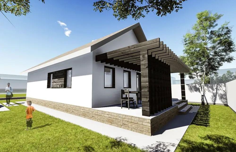 Proiecte de case cu o camera spatiu pentru tineri for Proiect casa 2 camere living baie si bucatarie