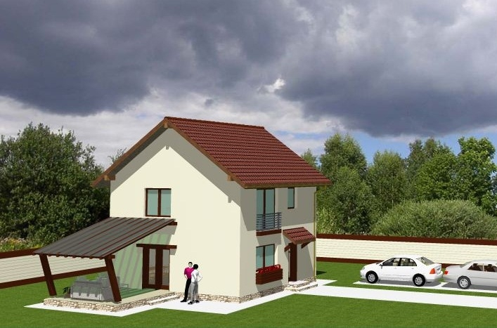 Proiecte de case cu etaj si terasa acoperita for Proiecte case cu mansarda 2017