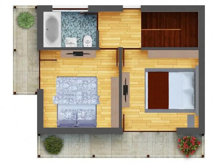 Proiecte de case mici cu 2 dormitoare 2 bedroom house plans 8