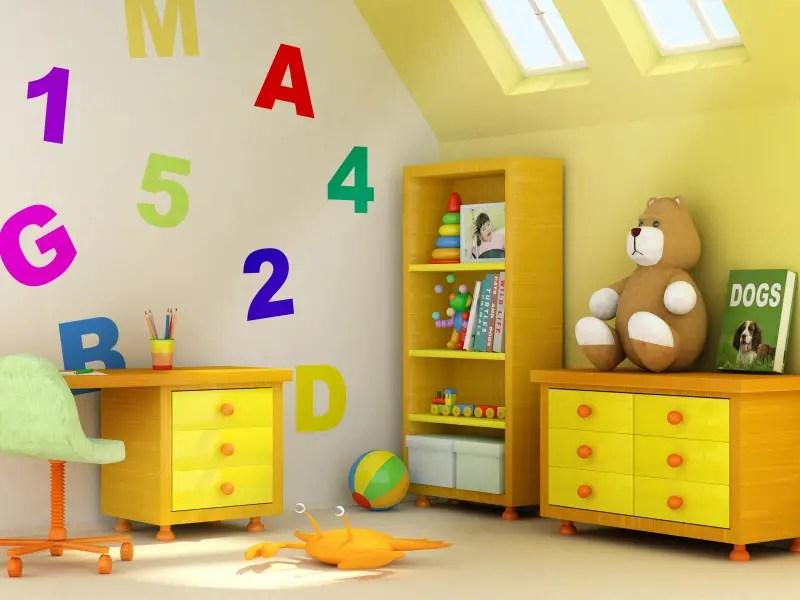 Dormitorul copiilor in culori diverse