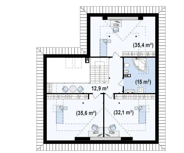Proiecte case medii cu mansarda si garaj medium size house plans 4