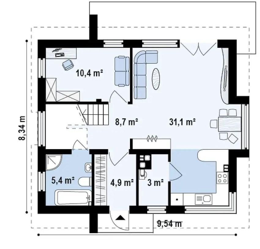 Proiecte de case cu trei dormitoare spatii largi in Medium sized home plans