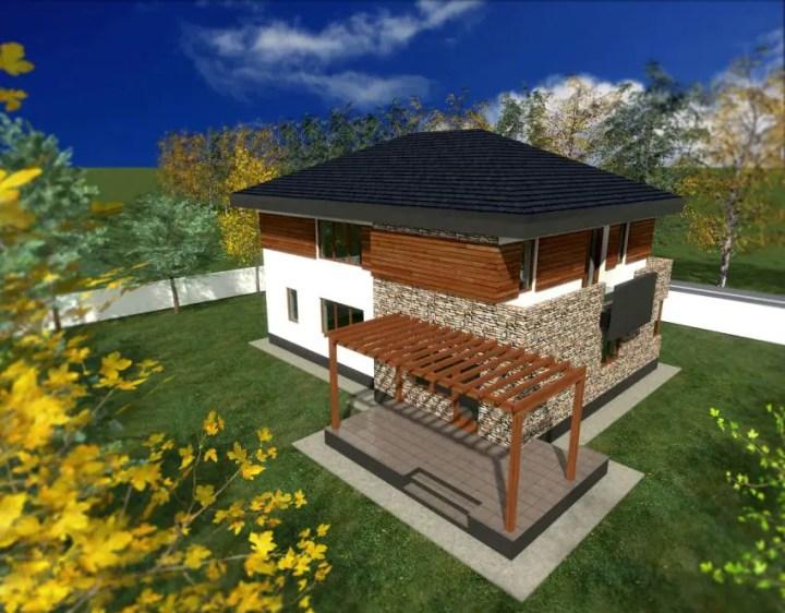 proiecte de case din piatra si lemn Wood and stone house plans