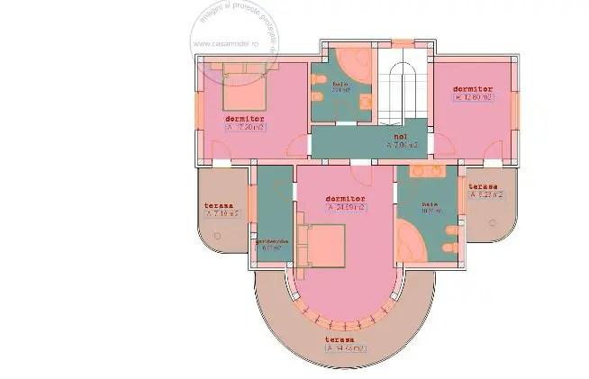 case cu balcon rotund round balcony house plans 3
