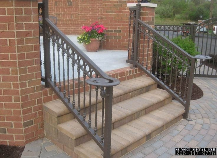 Exterior Wrought Iron Stair Railings Personalized Shapes   Rod Iron Railing For Steps   Custom   Contemporary   Classic   Raw Iron   Rustic