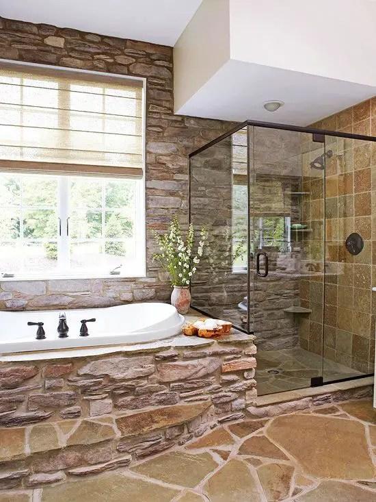 bai decorate cu piatra stone bathroom ideas 4