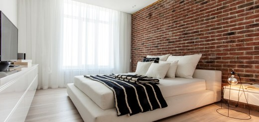 Dormitoare cu pereti din caramida elegante