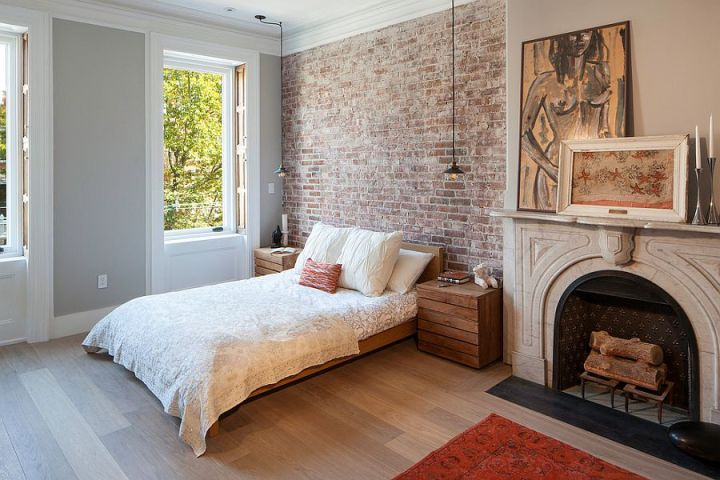 dormitoare cu pereti din caramida Bedrooms with brick walls 2