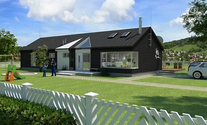 Proiecte de case moderne pe un singur nivel si practice