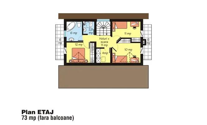 proiecte de case cu mansarda cu patru camere Four room attic house plans 12