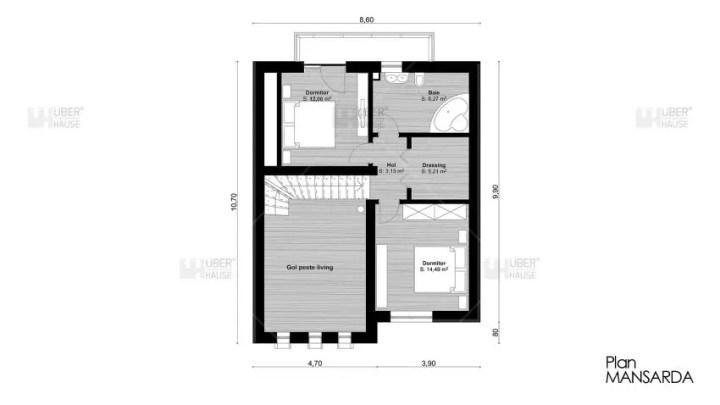 proiecte de case cu mansarda cu patru camere Four room attic house plans 8