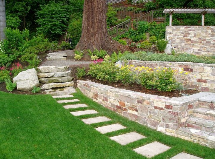 aranjamente de gradina cu pietre si flori Stone and flower garden design ideas 10
