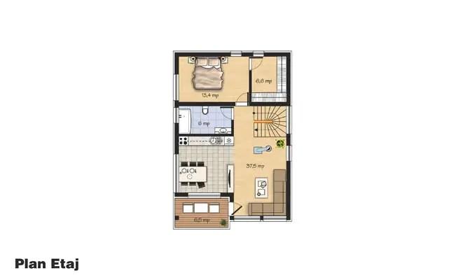 case cu etaj moderne Two story modern house plans 7