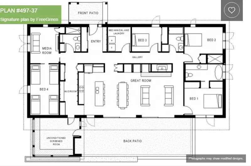 Single Story 4 Bedroom House Plans  Houz Buzz