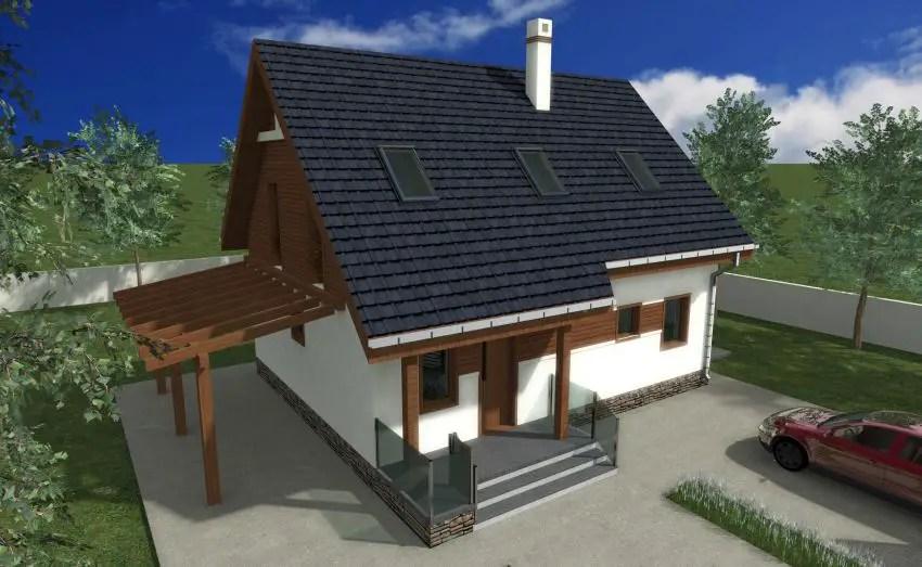 Case cu mansarda si balcon - elementele din lemn personalizeaza aceasta structura