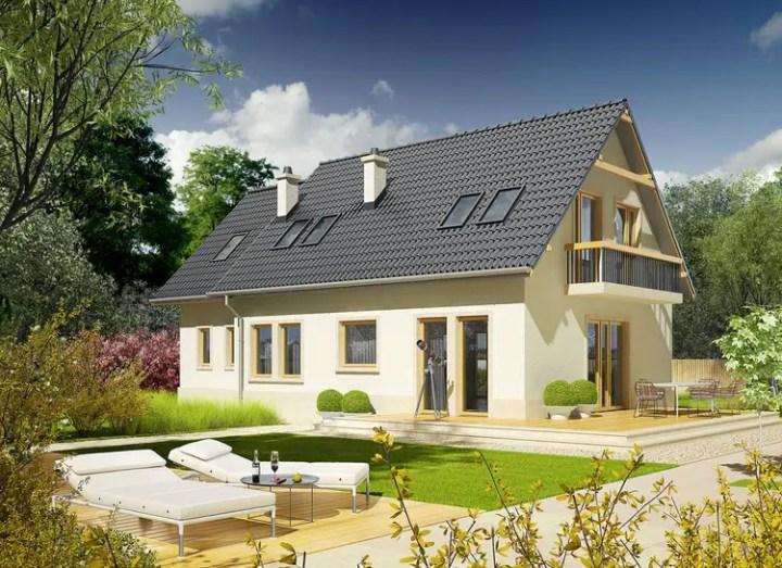 Case cu mansarda si balcon - doua planuri cromatice distincte